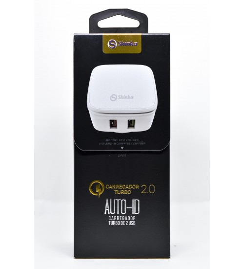 Carregador 2 usb parede Turbo Shinka