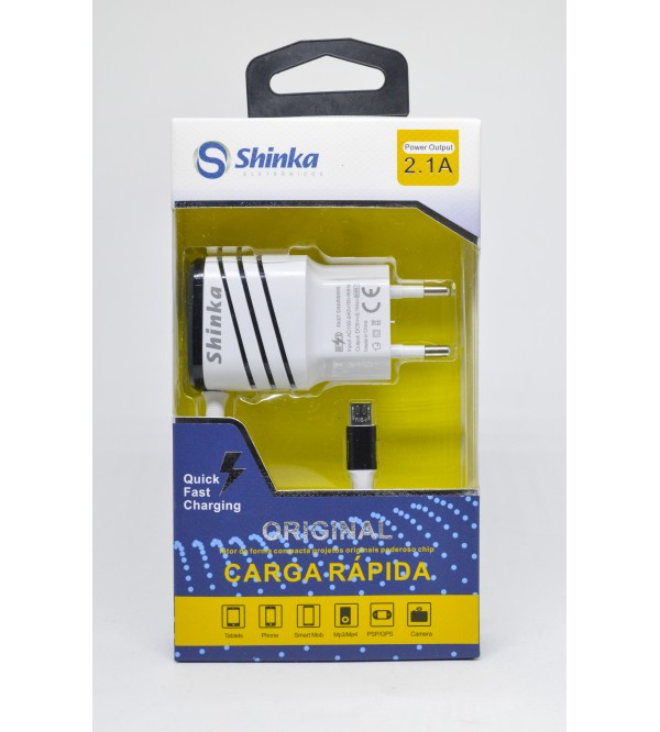 CARREGADOR V8 2.1A E USB SHINKA